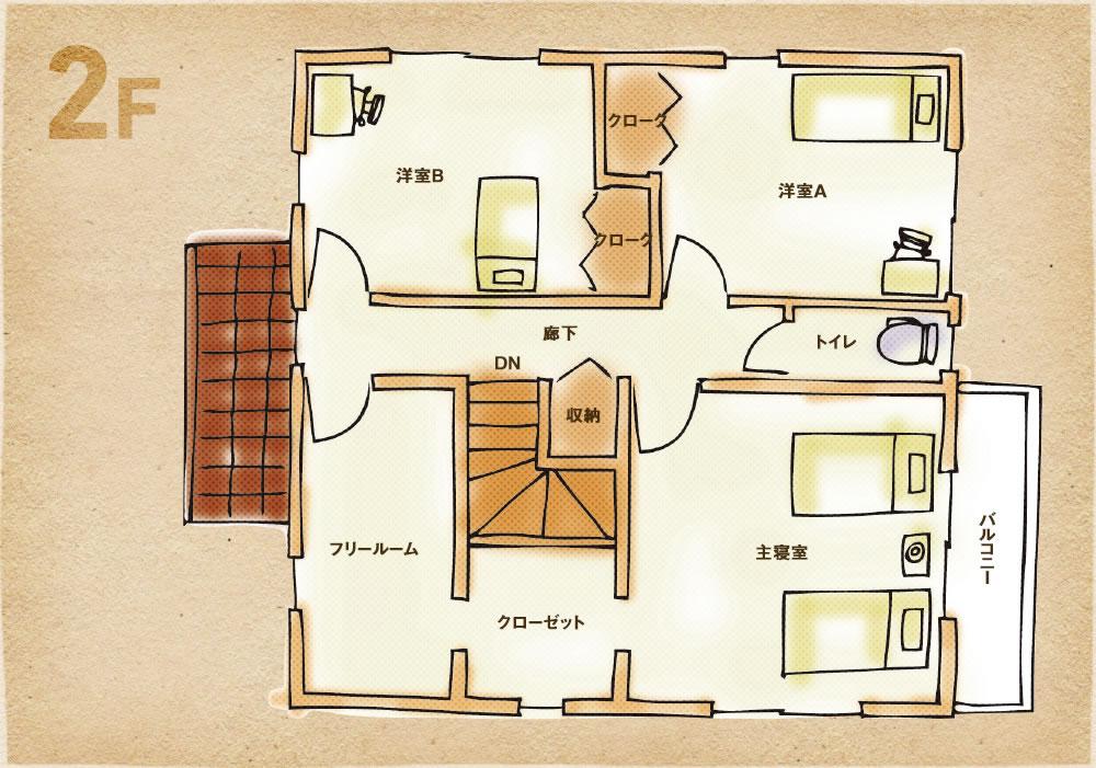 和室ありプラン 2階間取り図