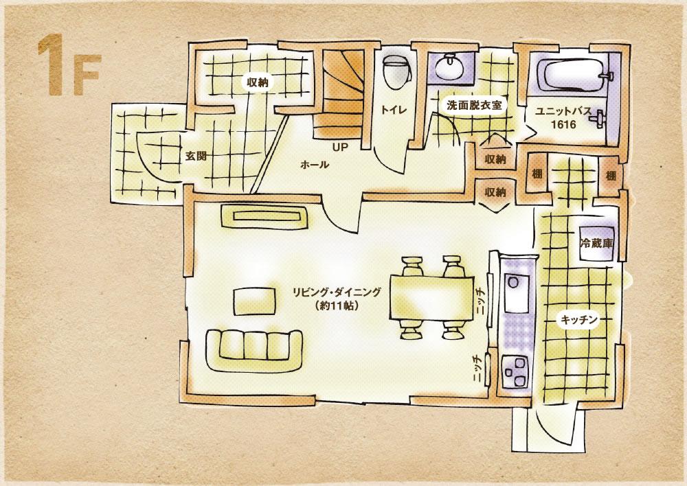 将来子供部屋分割プラン 1階間取り図